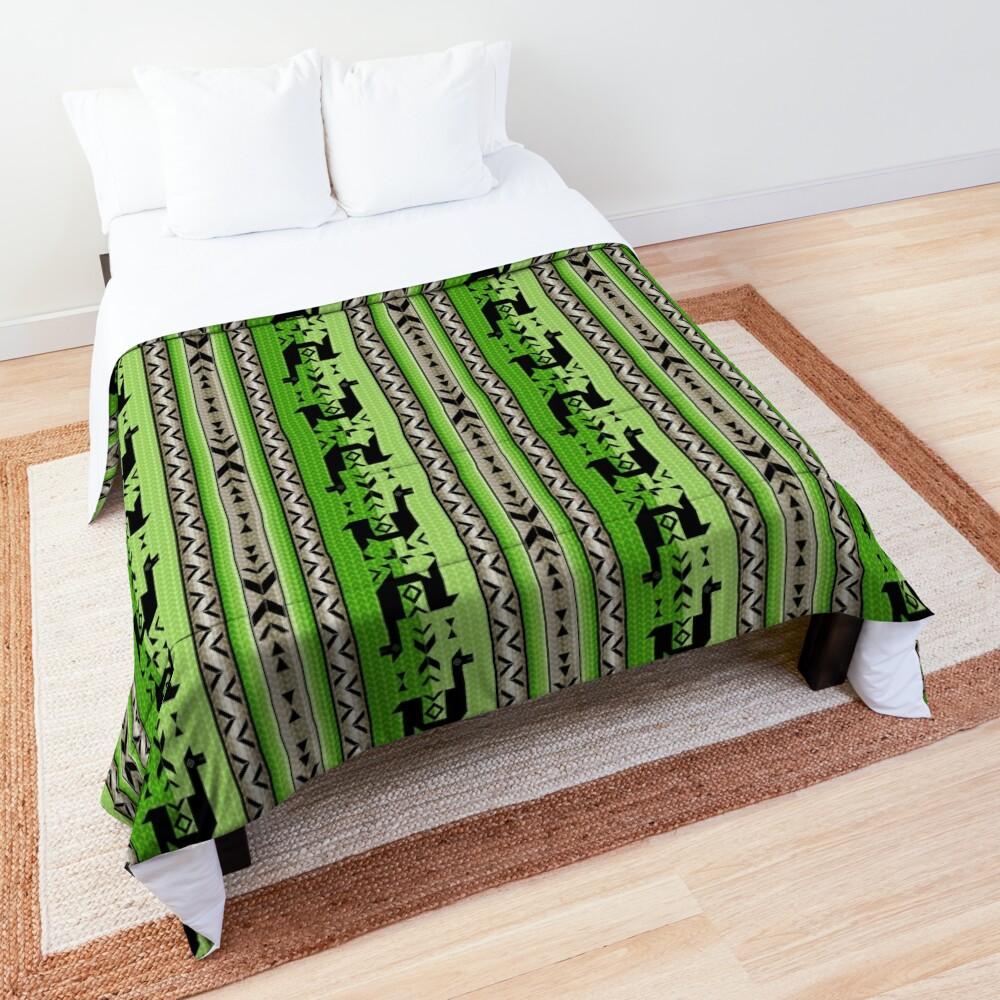 Llamas_Green and Warm Gray Comforter