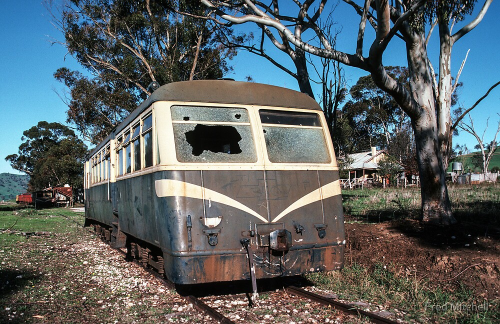 58 MT with broken windscreen Huon railway station siding 19830603 0026 by Fred Mitchell