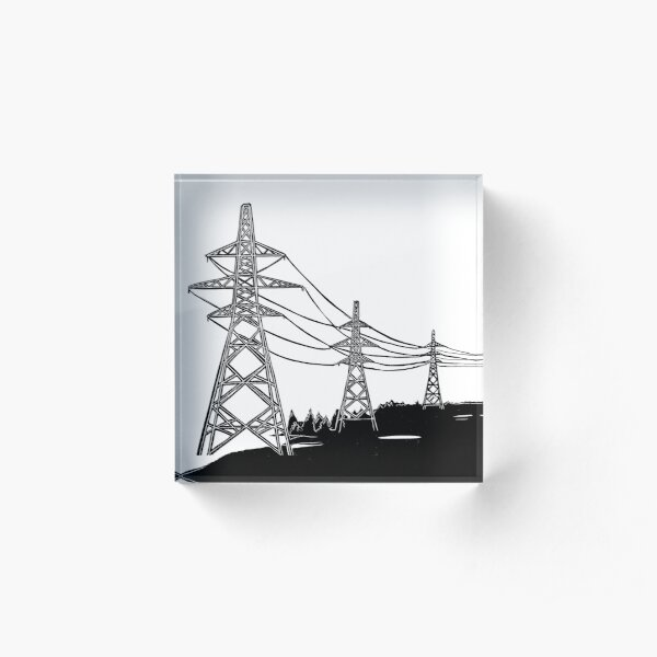 Pylons Linocut Acrylic Block