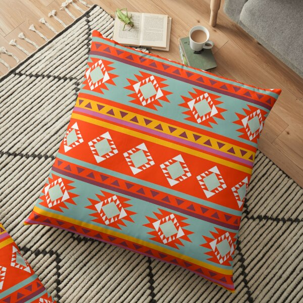 Bright red rustic shapes Floor Pillow