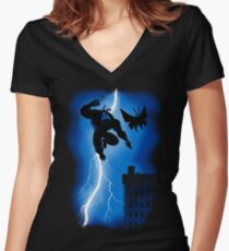 The Blue Mite Returns Women's Fitted V-Neck T-Shirt