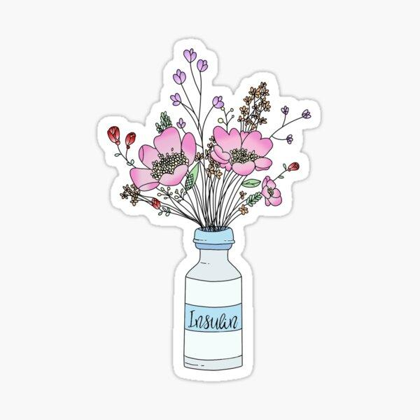 Insulin bottle with flowers Sticker