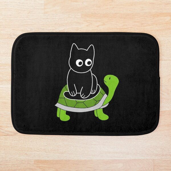 Black Cat Riding on Green Turtle  Bath Mat
