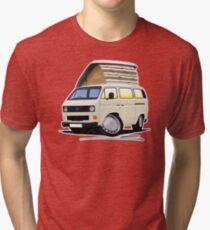 VW T25 / T3 White (Open Pop Top) Tri-blend T-Shirt