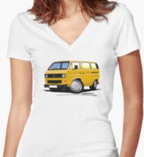 VW T25 / T3 Mustard Women's Fitted V-Neck T-Shirt