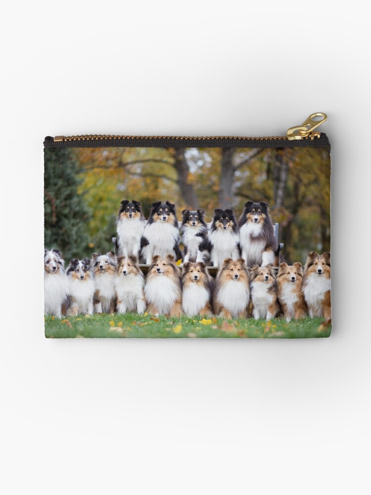 Shetland Sheepdog Sheltie Dog Group Zipper Lined Purse Pouch Perfect Gift