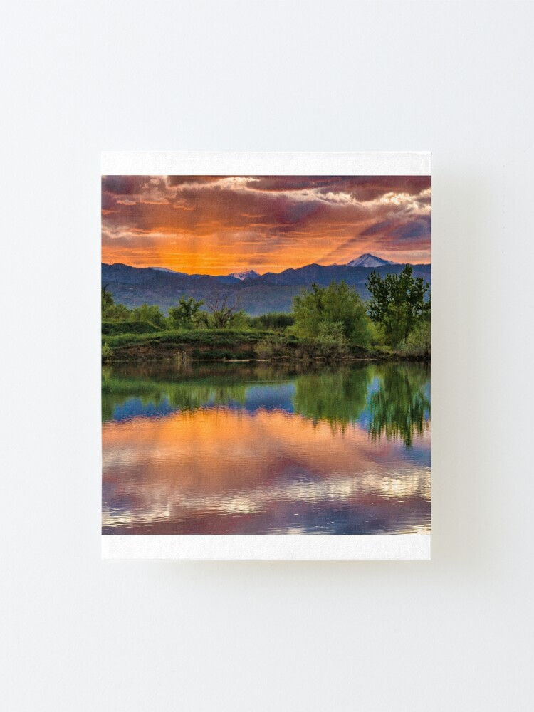 Alternate view of Sunset Sawhill Ponds Paintbrush Mounted Print