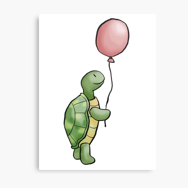 Turtle with balloon Metal Print