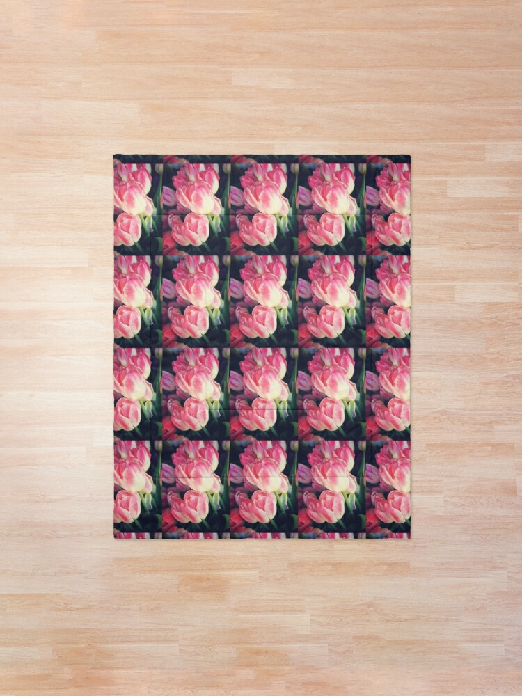 Alternate view of Tulip Lovers - Dramatic Pink Tulips Art Photography Comforter