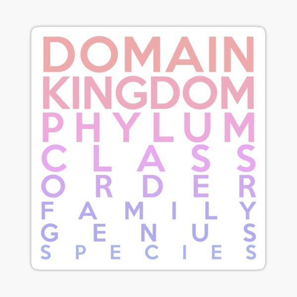 Domain, Kingdom, Phylum, Class, Family, Genus, Species Sticker