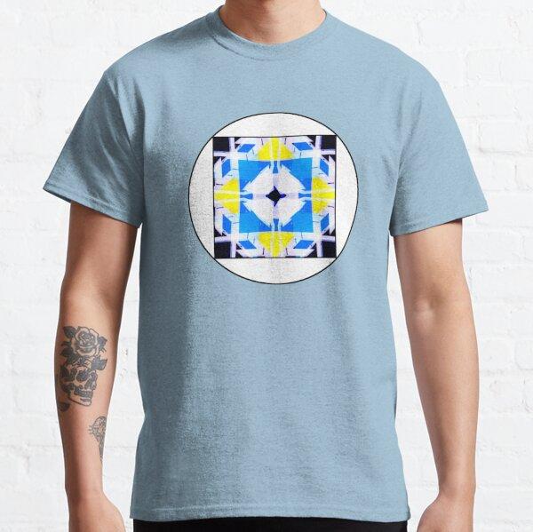 Illustration psychedelique aztèque jaune et bleu Classic T-Shirt