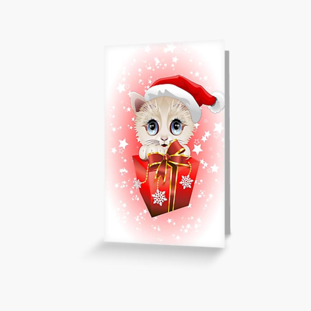 Kitten Christmas Santa with Big Red Gift Greeting Card