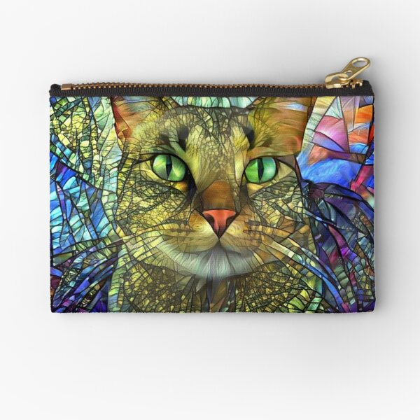 Stained Glass Tabby Cat Art Zipper Pouch