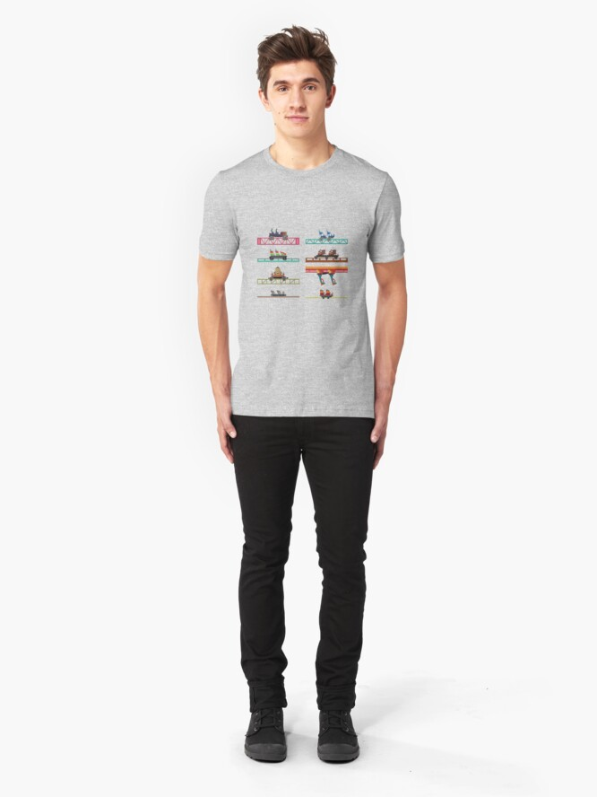 Alternate view of Knotts Berry Farm Coaster Cars Slim Fit T-Shirt