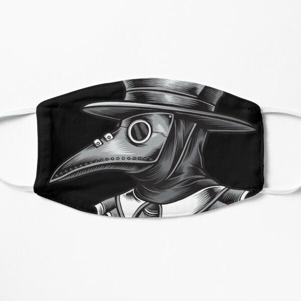 Plague Doctor Black and White Flat Mask