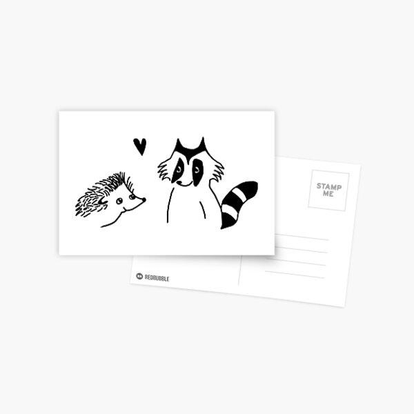 dessin hérisson et raton laveur Carte postale
