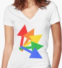 Rainbow arrows Women's Fitted V-Neck T-Shirt