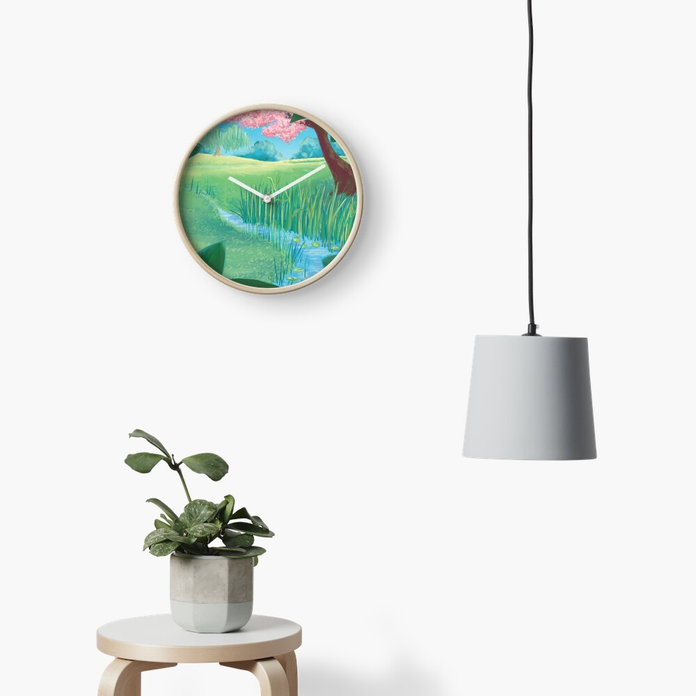 Spring Meadow print - Clock on Red Bubble
