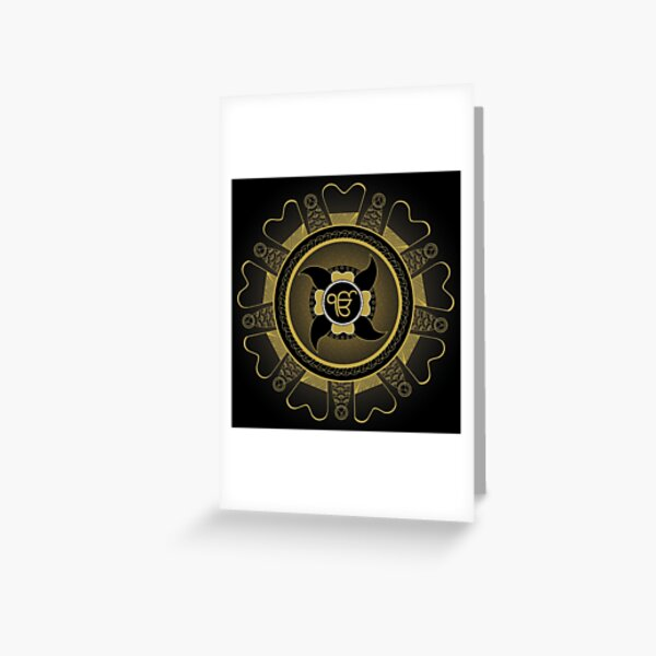 Ik Onkaar Mandala (Black) - By SimmyGhatt Greeting Card