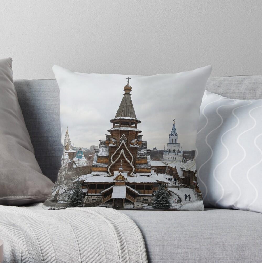 Izmaylovo Kremlin, Moscow in Winter Throw Pillow
