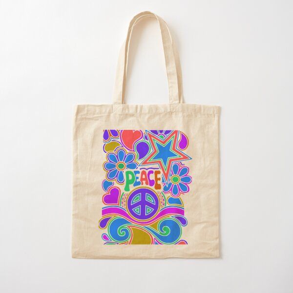 Peace and Love Flowers and Stars Hippie Design Cotton Tote Bag