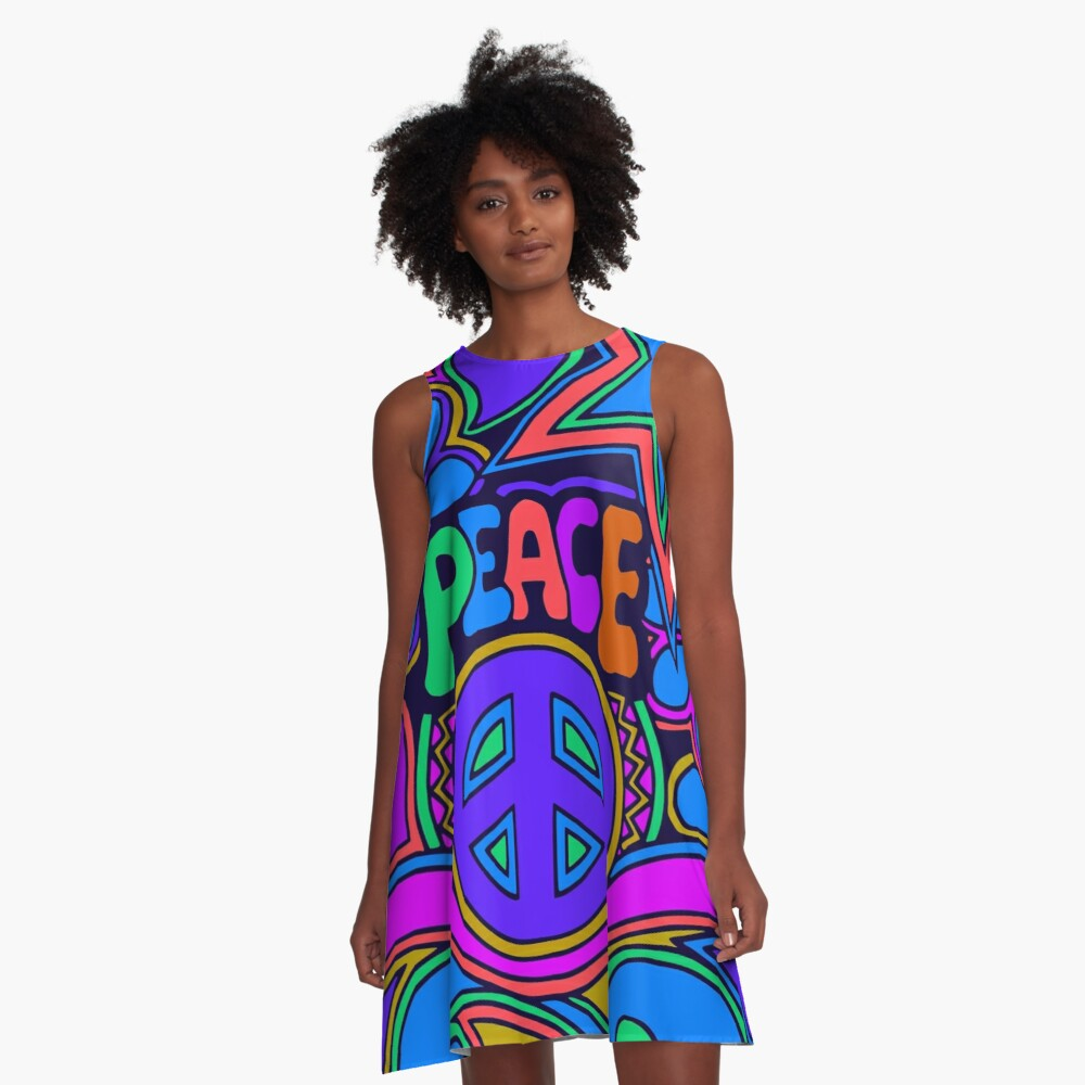 Peace and Love Flowers and Stars Hippie Design A-Line Dress