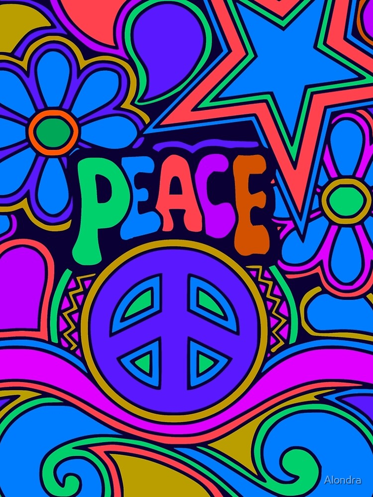 Peace and Love Flowers and Stars Hippie Design by Alondra