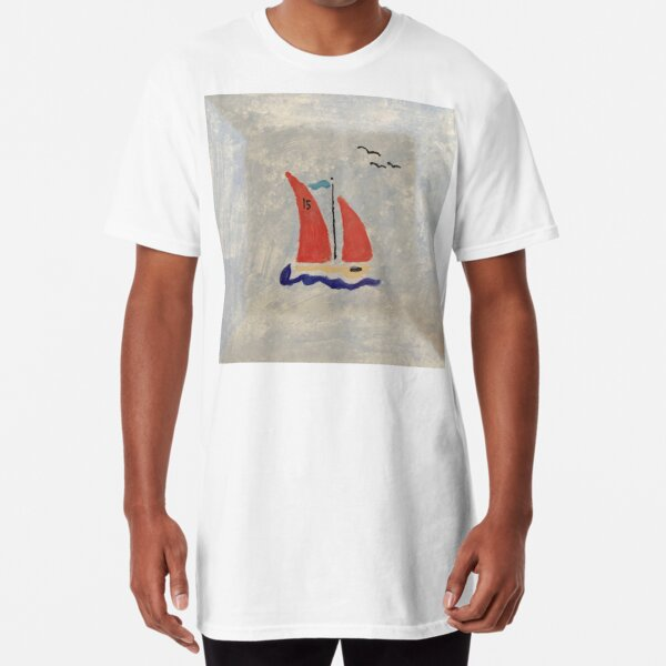 Red Sails on a Little Racing Boat Long T-Shirt