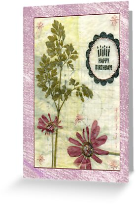Botanical multi layered birthday card. by Sandra Foster