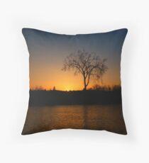 Orange and Blue Sunset In Nova Scotia Throw Pillow