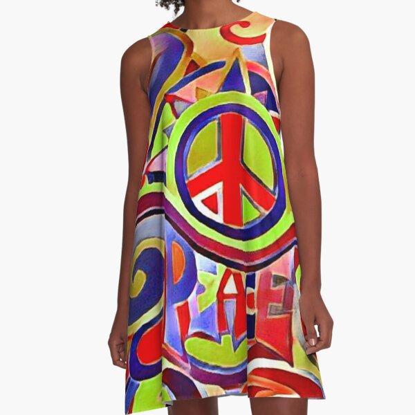 Hippy Retro Peace Art A-Line Dress