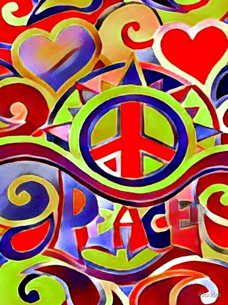 Hippy Retro Peace Art by Alondra