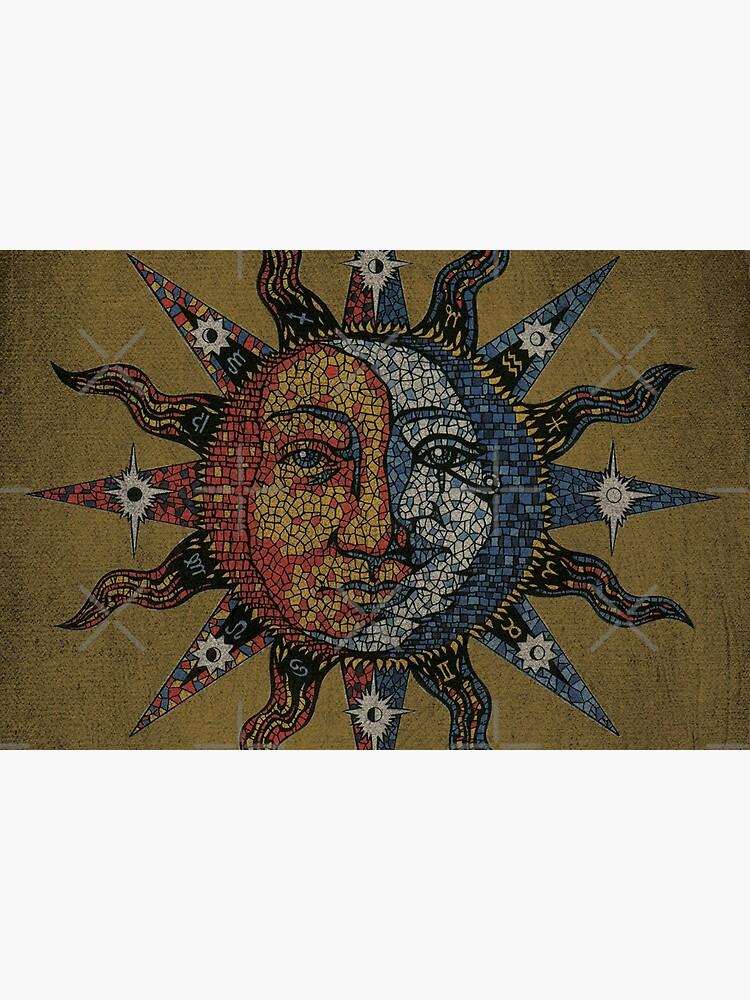 Vintage Celestial mosaic Sun & Moon by sandersart