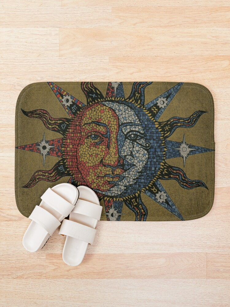 Alternate view of Vintage Celestial mosaic Sun & Moon Bath Mat