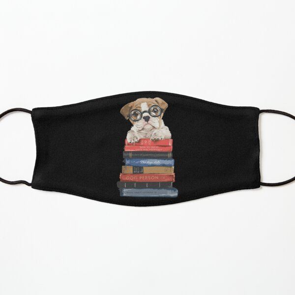 Book lover Cute Puppy with Pile Of Books Kids Mask