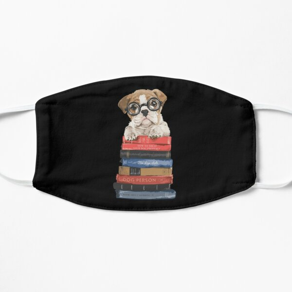 Book lover Cute Puppy with Pile Of Books Mask