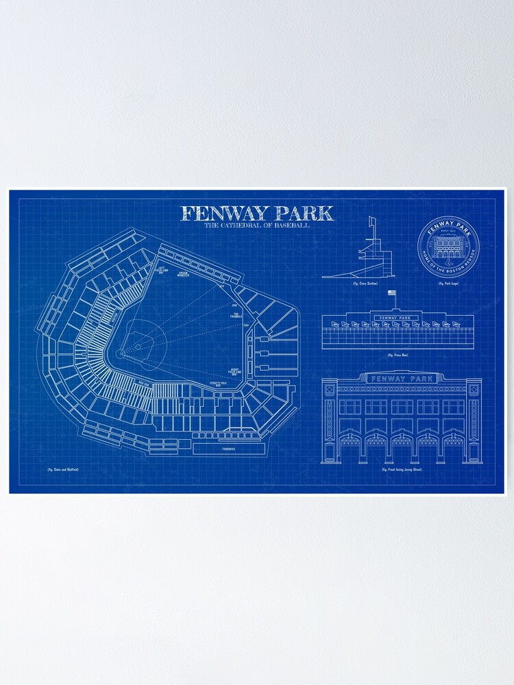 Alternate view of Fenway Park. The Cathedral of Baseball. Blueprint Poster