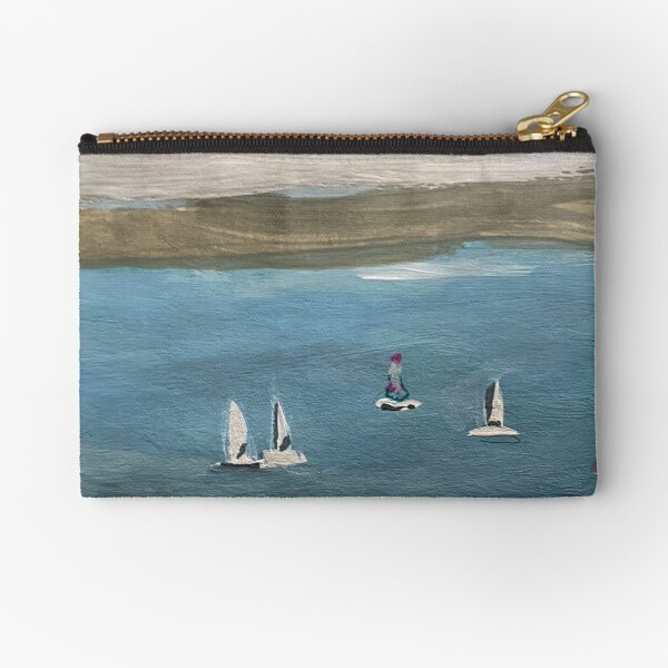Sailing Boats on a Calm Sea at Shanklin Isle of Wight Zipper Pouch