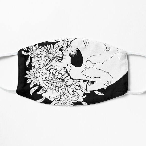 Pushing Up Daisies Skull Drawing Flat Mask
