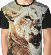 Lion Licking Lips Graphic T-Shirt