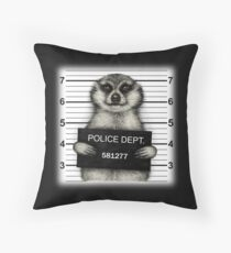 Meerkat Mugshot Throw Pillow