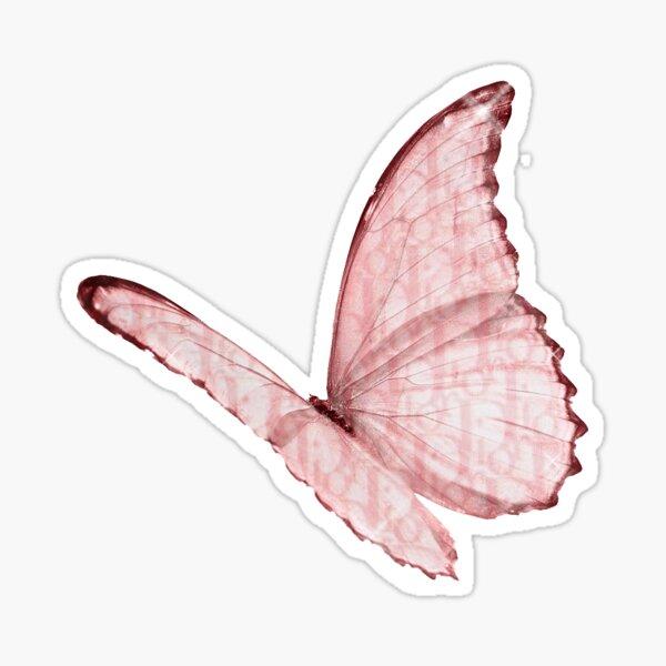 rosa dior buterrfly Pegatina