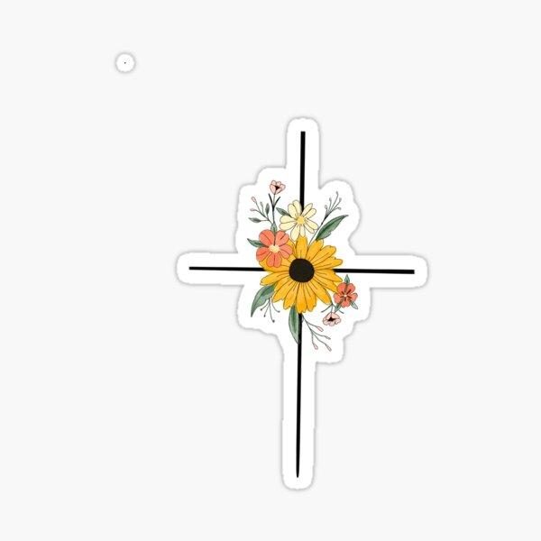 Dainty Flower Cross  Sticker