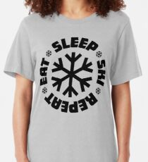 Eat Sleep Ski Repeat Slim Fit T-Shirt