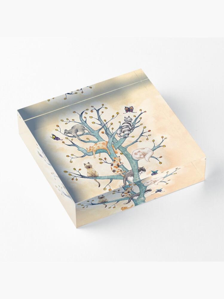 Alternate view of The tree of cat life Acrylic Block