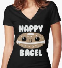 Happy Bagel Women's Fitted V-Neck T-Shirt