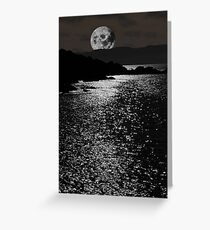 tranquil rocky kerry moonlit night view Greeting Card