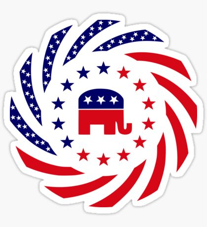 Republican Murican Patriot Flag Series Glossy Sticker