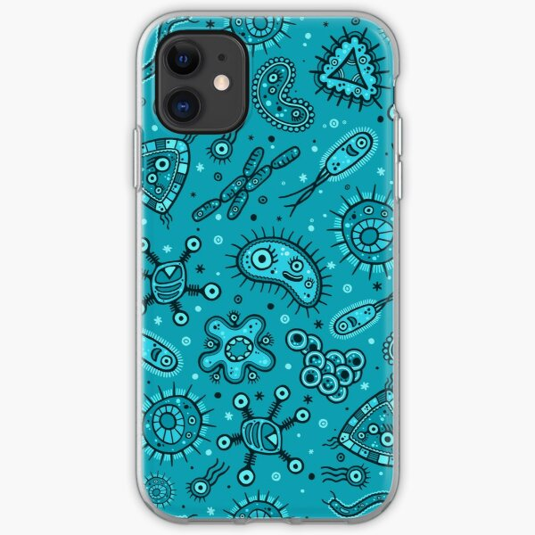 Cartoon Microbes - Teal iPhone Soft Case