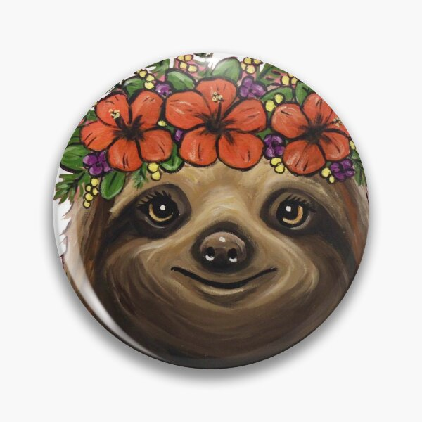 Sloth with Flower Crown Art Pin